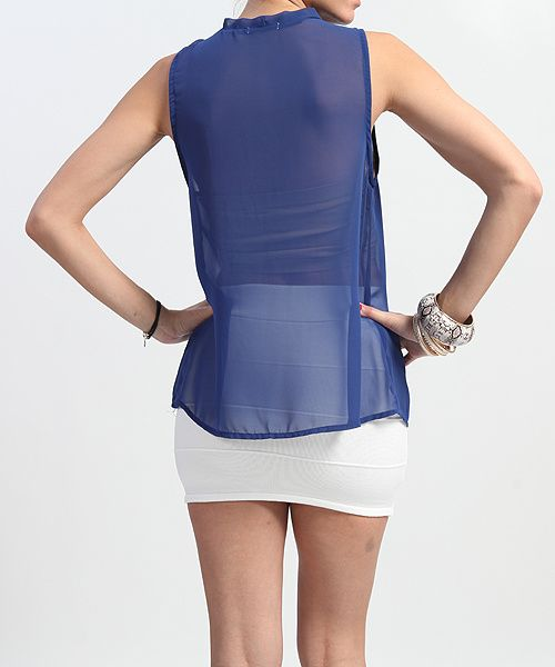 Button Sheer Crepe SLEEVELESS BLOUSE Casual Dressy Bow Tank Top